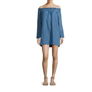 7 for all mankind chambray off the shoulder dress